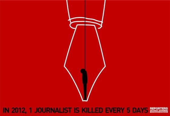 في ٢٠١٢، يُقتل صحافي كل ٥ أيام