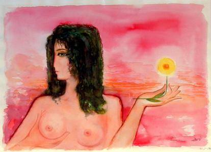 زهرة صفراء وسماء زهرية . ١٩٨١